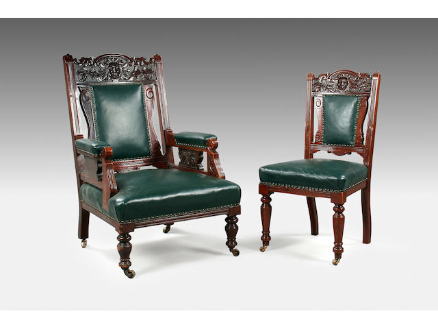A late Victorian mahogany salon suite