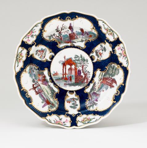 A interesting Worcester dessert plate circa 1770