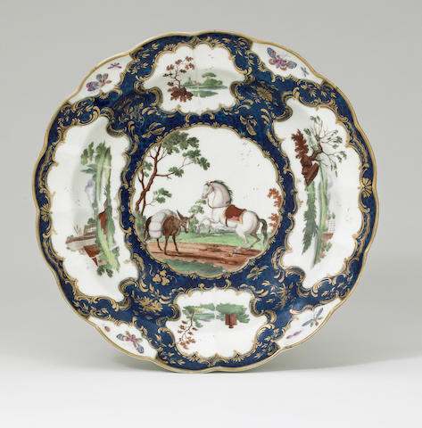 An important Worcester dish circa 1768-70