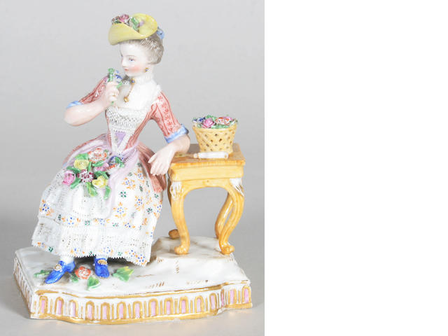 A Meissen allegorial figure of 'Smell' from 'The Senses' series Late 19th Century