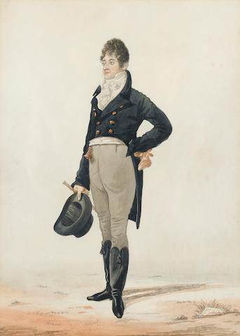 Robert Dighton (British, 1752-1814) Portrait, believed to be of Beau Brummel 32.5 x 23.5 cm. (13 x 9