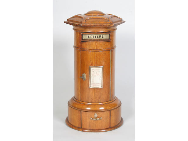 A Victorian country house table top oak pillar box