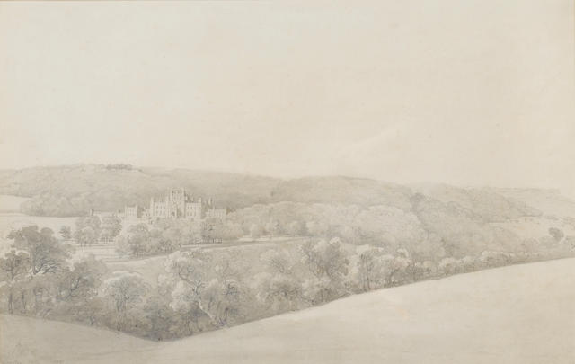 Joseph Farington, R.A. (British, 1747-1821) A view towards Lowther Castle, Cumbria  33.5 x 52.5 cm.