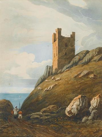 John Varley (British, 1778-1842) Lilburn Tower, Dunstanburgh Castle, Northumberland 31 x 23 cm. (12