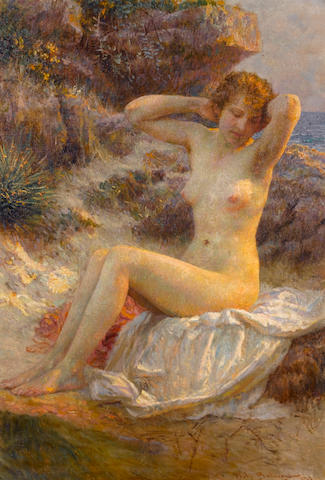 Vlaho Bukovac (Croatian 1855-1922) Seated naked girl 79 x 54 cm. (31 x 21 1/4 in.)