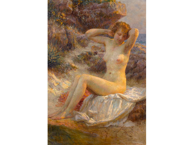 Vlaho Bukovac (Croatian, 1855-1922) The bather 79 x 54 cm. (31 x 21 1/4 in.)