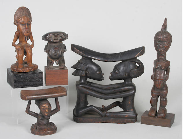 A group of decorative African tribal figure sculptures