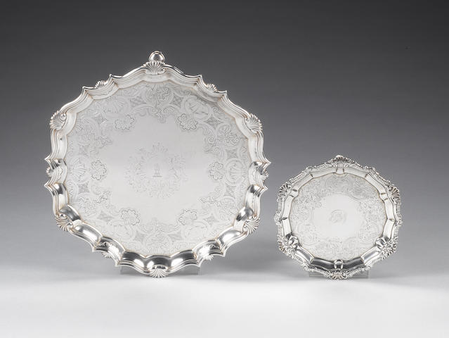 A George II silver salver, by Richard Beale, London 1738, and a George II/III Irish silver waiter