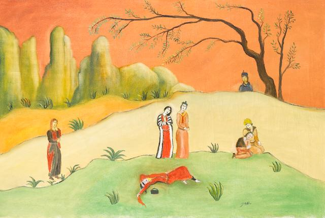Tassuduque Sohail, Figures with a reclining/dying figure in a landscape