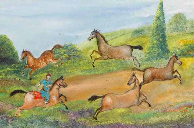 Tassuduque Sohail (Pakistan, b. 1930) A rider lassooing horses