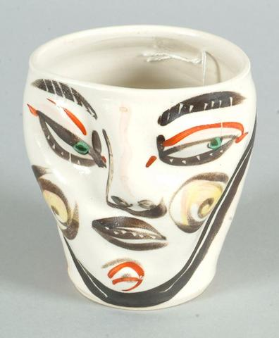 Akio Takamori a small 'Face' Cup Height 10.5cm (4 1/4in.)