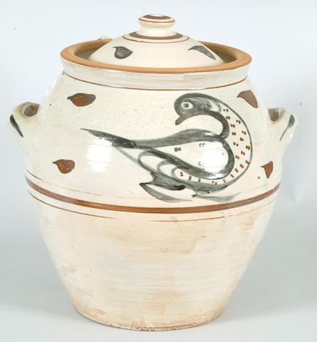 Svend Bayer, attributed a lidded Pot with bird Height 42cm (16 1/2in.)