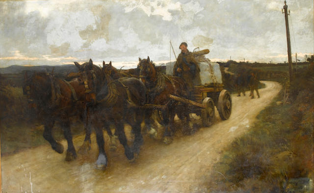 Stanhope Alexander Forbes, RA (British, 1857-1947) The Quarry Team 152.5 x 244 cm. (60 x 96 in.)