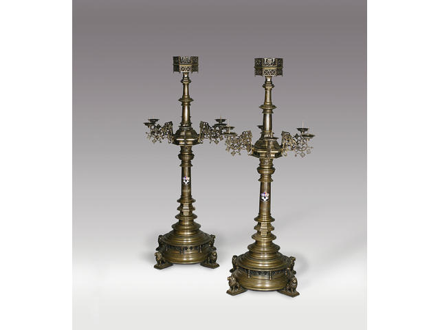 The pair of monumental and magnificent brass candle standards from King's College Chapel, Cambridge