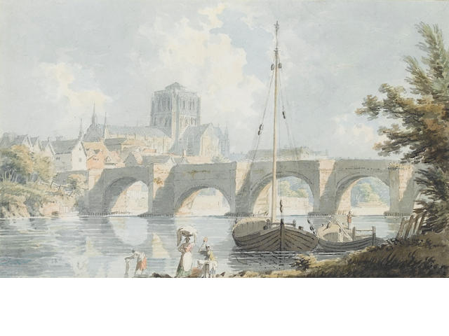 Edward Dayes (British, 1763-1804) Worcester Cathedral from the River Severn 14.5 x 23.5 cm. (5 3/4 x