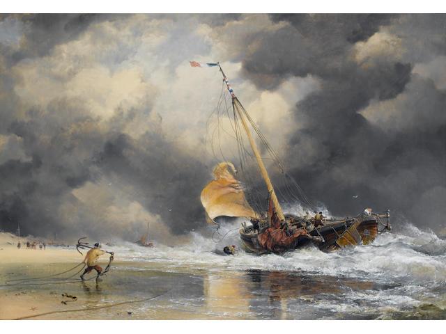 Edward William Cooke (British, 1811-1880) Dutch Boats : Rough Sea with Scheveling pinck getting off shore 61 x 87.7cm.  (24 x 34 1/2in.)