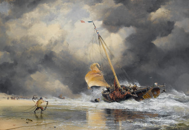 Edward William Cooke (British, 1811-1880) Dutch Boats : Rough Sea with Scheveling pinck getting off