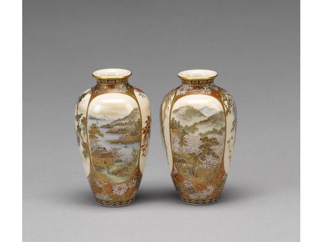 A fine and rare duo of small Kyoto-Satsuma vases by Yabu Meizan;