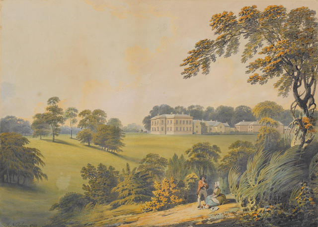Francis Nicholson (British, 1753-1844) Wiganthorpe Hall; Looking across the ground towards Wiganthorpe Hall; The lake at Wiggenthorpe Hall, a set of three each 30 x 42 cm. (11 3/4 x 16 1/2 in.) (3)