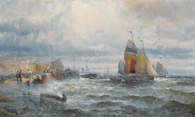 Hubert Anslow Thornley (British, 19th Century) The fishing fleet setting off 25.4 x 40.7cm. (10 x 16in.)