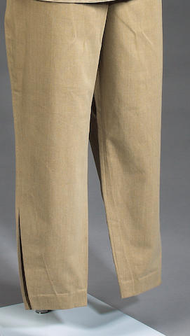 A pair of trousers, worn by Billy Davis as Snaggletooth in the canteena sequence of Star Wars, 1977