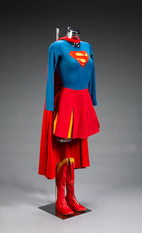 A flying cape and flying outfit, from Supergirl, as worn by Helen Slater,