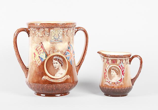 A Royal Doulton Queen Elizabeth Coronation loving cup 1953,