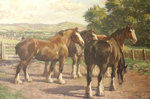 "Tom Curr (1887-1958) ""Horses at Ruthven"""