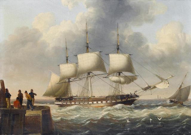 John Ward of Hull (British, 1798-1849) A frigate shortening sail as she runs into port 22.8 x 30.5cm. (9 x 12in.)