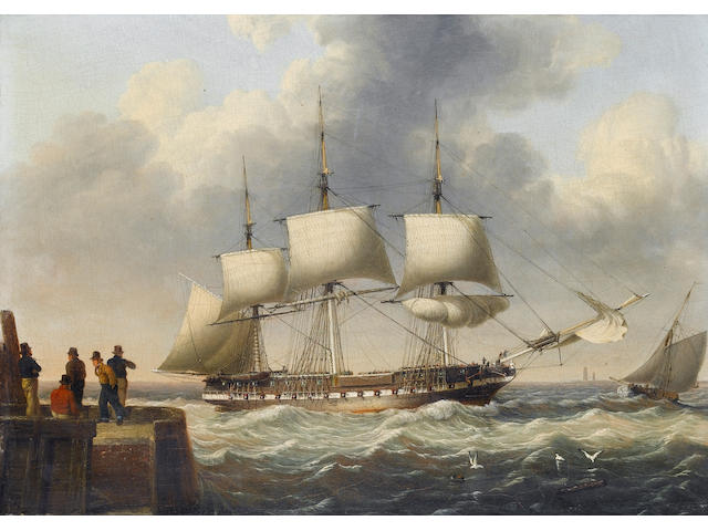 John Ward of Hull (British, 1798-1849) A frigate shortening sail as she runs into port 22.8 x 30.5cm. (9 x 12in.)