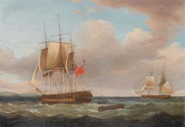 Thomas Whitcombe (British, 1760-1824) H.M.S. 'Pique', 40 guns, Captain C.H.B. Ross capturing the Spanish Brig 'Orquijo', 18 guns, 8th. February 1805 30.5 x 43.2cm. (12 x 17in.)