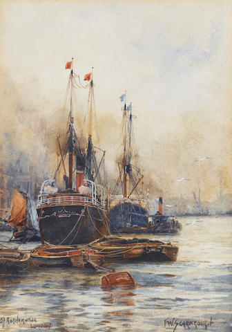 Frank William Scarbrough (British, 1860-1939) 'Off Rotherhithe, London' 24.2 x 16.8cm. (9 1/2 x 6 5/8in.)