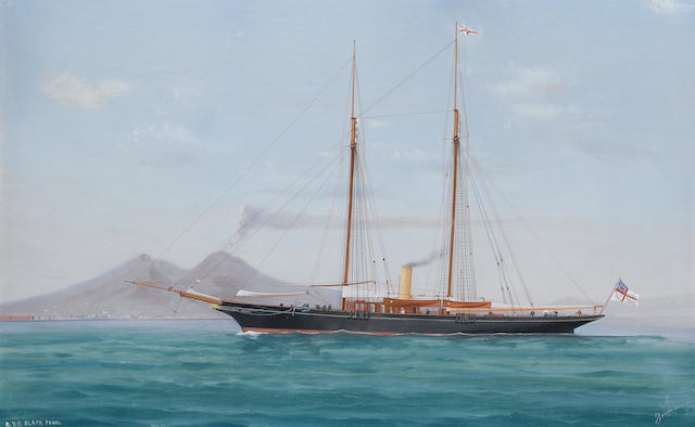 Tommaso de Simone (Italian, 19th Century) The R.Y.S. 'Black Pearl' in the Bay of Naples 38 x 62cm. (15 x 24 3/8in.)