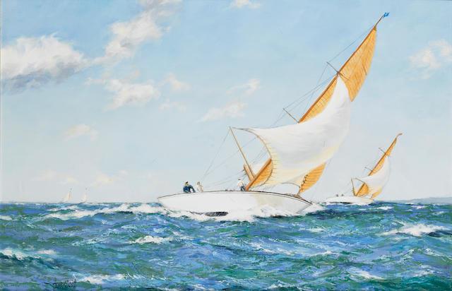 Henry Scott (British, 1911-2005) 'Wind & Sun - 6 meters in the Solent' 50.8 x 76.2cm. (20 x 30in.)