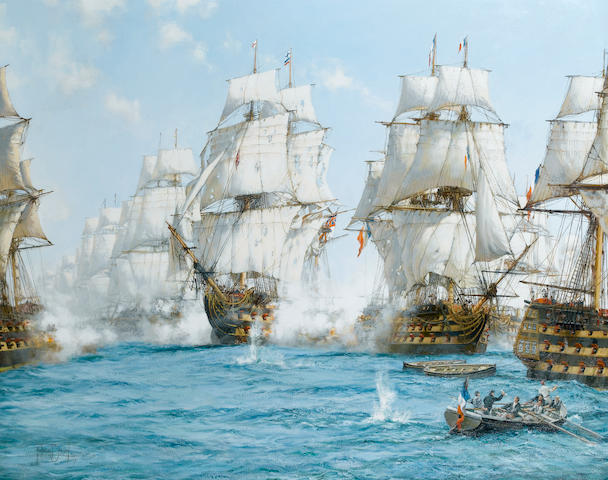 Montague Dawson (British, 1895-1973) Trafalgar; Victory at noon - H.M.S. 'Victory' breaking the enemy line and raking the stern of the French flagship 101.6 x 127cm. (40 x 50in.)