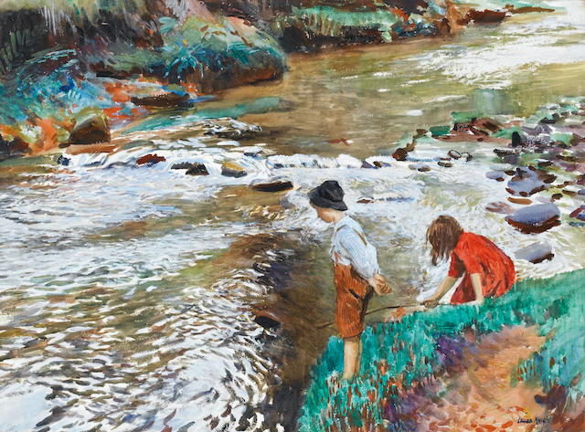 Dame Laura Knight R.A., R.W.S. (British, 1877-1970) The Two Fishers 55.5 x 74 cm. (21 7/8 x 29 1/8 i