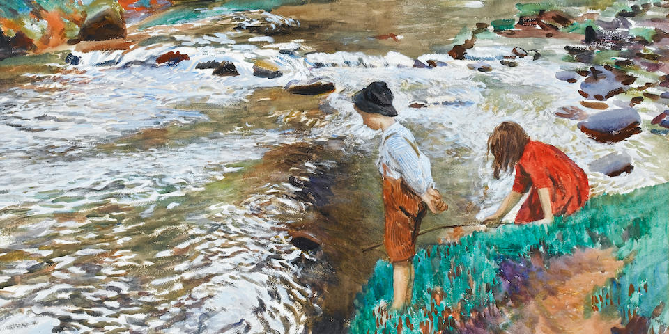 Dame Laura Knight R.A., R.W.S. (British, 1877-1970) The Two Fishers 55.5 x 74 cm. (21 7/8 x 29 1/8 in.)