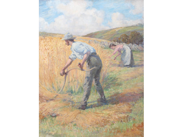 """C H Thompson """"The Harvesters"""", on canvas, signed and dated 1902, 90 x 69cm See front cover illustration"""