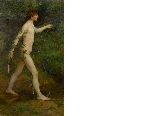 Henry Scott Tuke, RA, RWS (British, 1858-1929) A nude boy beside a woodland pool 152 x 84 cm. (59 3/