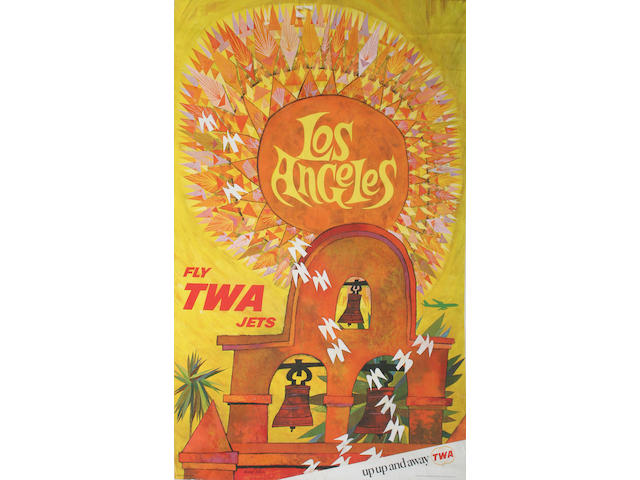 A 1960's TWA jets 'Los Angeles' poster, by David Klein,