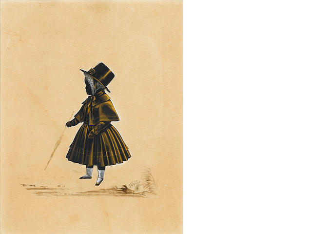 (n/a) Royal Victoria Gallery (British, after 1837-circa 1854), A silhouette of a Child, full-length, profile to the left, wearing dress, cape, outdoor hat and lace bonnet, holding a parasol