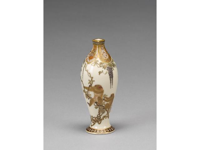 A miniature Kyoto-Satsuma vase by Yabu Meizan;