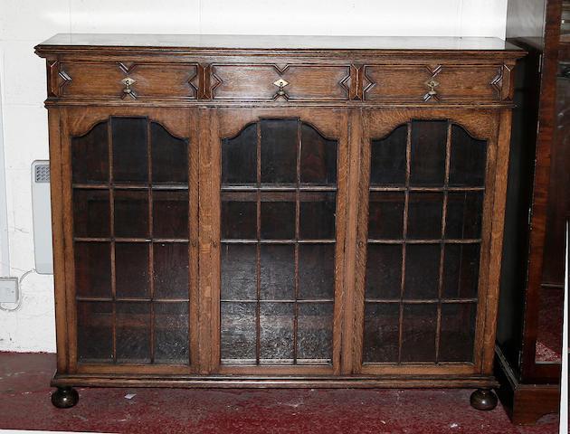 An Edwardian oak bookcase