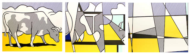 Roy Lichtenstein (American, 1923-1997) Cow going abstract (S)(3)