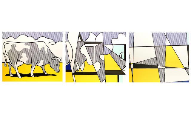 Roy Lichtenstein (American, 1923-1997) Cow going abstract, 1982 (Corlett App. 9) a triptych (3)