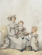 (n/a) Albin Roberts Burt (British, 1783-1842) A pair of portraits of Samuel Hawkes (1794-1829) and his family, full-length; one with Mrs Hawkes seated resting her foot and holding a fan, wearing white dress, ruff and cap, with Child in white dress with red stripes seated upon her lap, another Child stands besides them in white dress holding basket and doll; together with Samuel Hawkes and a Child both standing; He, wearing black robe and white bands with seal hanging from his waist, the Child, wearing white dress with blue detail