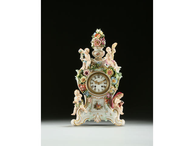 A Meissen 'Four Seasons' figural mantel clock, circa 1870-80