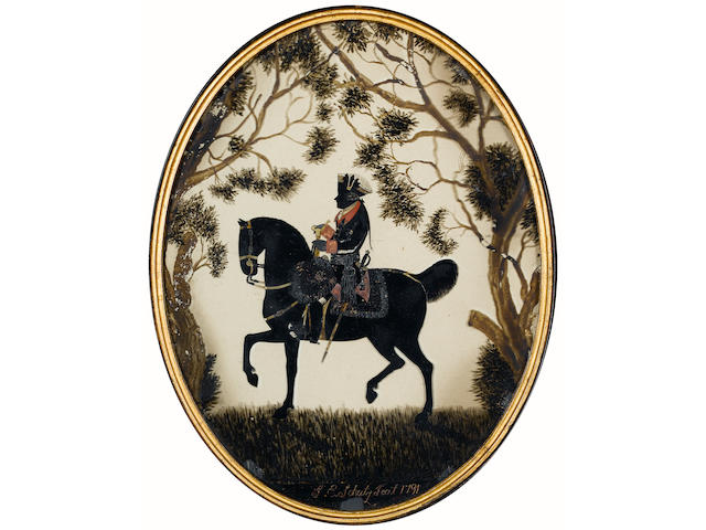 F. E. Schutz (German, fl.late 18th Century), A silhouette of Frederick II of Prussia (Frederick the Great) (1712-86), profile to the left, seated astride his horse, wearing the uniform of the Prussian Life Guards, with red collar and cuffs, breast star of the Royal Prussian Order of the Black Eagle and tricorn hat adorned with rosette, woodland setting