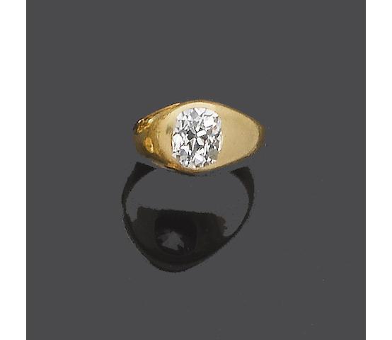 A late 19th century diamond single-stone ring,