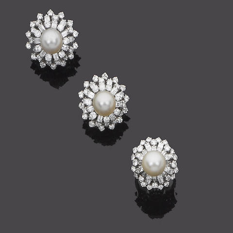 A cultured pearl and diamond ring and earring suite,